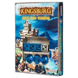Blue & black Kingsburg Dice and Tokens Set