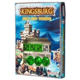 Green & black Kingsburg Dice and Tokens Set