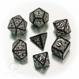 Black/Glow in the dark Steampunk Dice Set (7) BOX