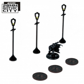 3x Sewer Cover Type A and 3x Lampost Type A