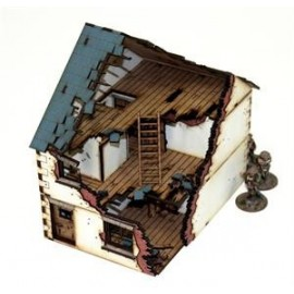 28mm Pre-painted Detached House type 1 (Damaged)