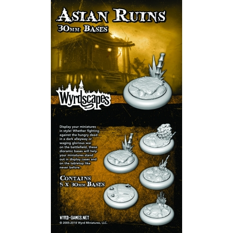 Wyrdscapes Asian Ruins 30mm Bases - 5 Pack