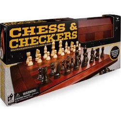 Classic Deluxe Wood Chess & Checkers Black & Gold