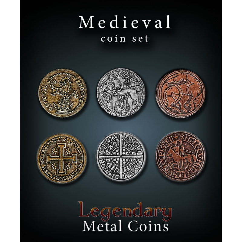 Medieval Coin Set Legendary Metal Coins - Gaming Aids and Accessories