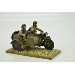 French Motorcycle and Side Car with Riders