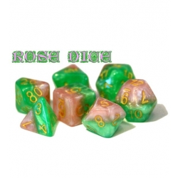 Halfsies Dice - Rose (Poly 7 Set)