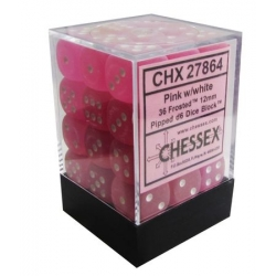 12mm D6 Dice Block: Frosted Polyheral Pink / White