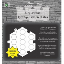"Dry Erase Dungeon Tiles: White 6"" Hexagon - 33 pack"