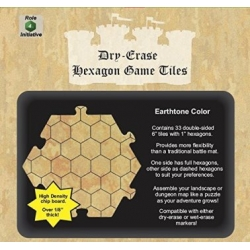 "Dry Erase Dungeon Tiles: Earthstone 6"" Hexagon - 33 pack"