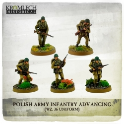 Polish Army Infantry (wz. 36 Uniforms) Advancing with Rifles