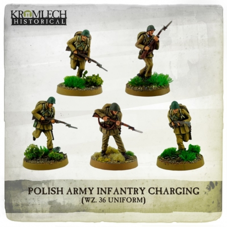 Polish Army Infantry (wz. 36 Uniforms) Charging with Rifles