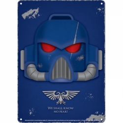 Tin Sign Small - Warhammer (Space Marine Helmet)