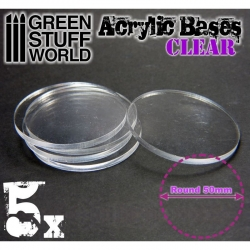 Acrylic Bases - Round 50mm Clear