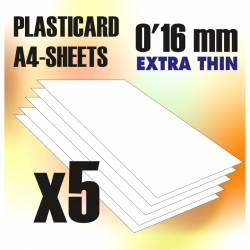 ABS Plasticard A4 - 0.16mm Combo x5 Sheets
