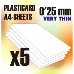 ABS Plasticard A4 - 0.25mm Combo x5 Sheets