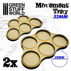 MDF Movement Trays 32mm x5 - Skirmish