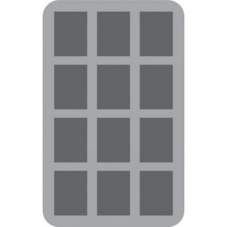 HS070I012BO 70 mm (2.75 inch) half-size Figure Foam Tray with base - 12 large and deep cut outs
