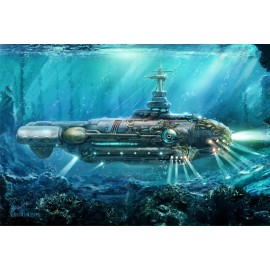 Card Game Mat 60x40cm Submarine