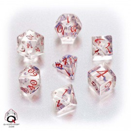 Transparent blue and red Classic RPG Dice Set (7)