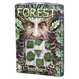 Green & black Forest 3D Dice Set (7) BOX