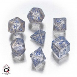 Transparent & Blue Elven Dice (7)