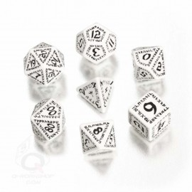 White & Black Runic Dice (7)