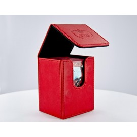 Flip Deck Case 80+ Standard Size Leatherette - Red