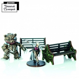 Green Ornate Benches
