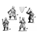 Dismounted Knights with Axes and Maces