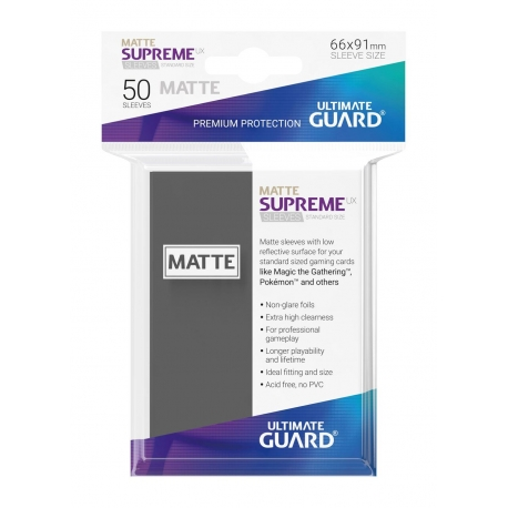 50x Supreme UX Sleeves Standard Size Matte - Dark Grey