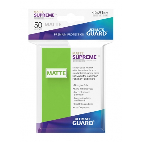 50x Supreme UX Sleeves Standard Size Matte - Light Green