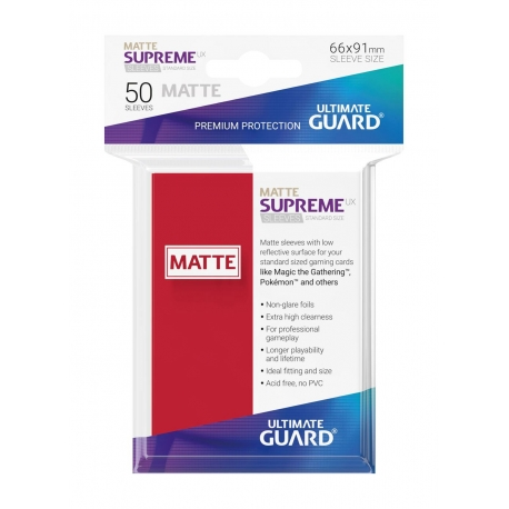 50x Supreme UX Sleeves Standard Size Matte - Red